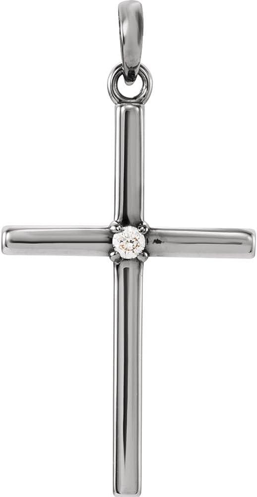 Jewels By Lux 14k Overseas parallel import regular item White Latest item Gold Diamond 26.5x13.75mm CTW .02 Cross