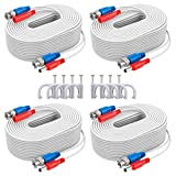 ANNKE UL Certified 4x100ft(30 m) 2-in-1 Video/Power Cable for CCTV DVR Wired Video Security Camera Systems, Free BNC RCA Connector and 100pcs Cable Clips Included (White)