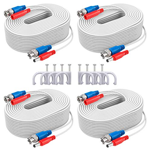 ANNKE UL Certified 4x100ft(30 m) Fire-Rated 2-in-1 Video Power Cable for CCTV DVR Wired Video Security Camera Systems, Free BNC RCA Connector and 100pcs Cable Clips Included (White)-W100 UL
