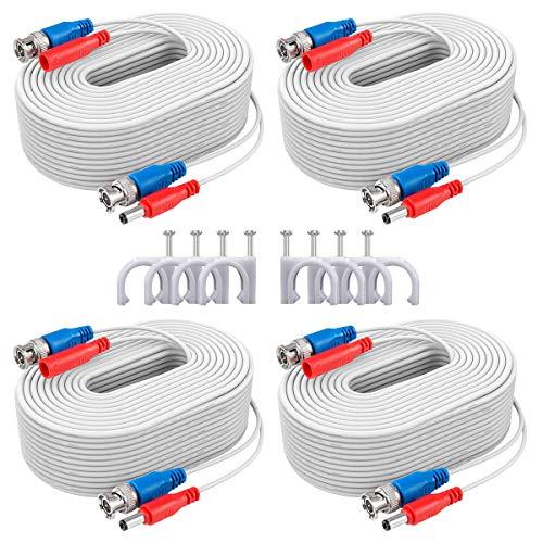 ANNKE 4Pcs BNC Cables 30m/100pies y de DC Certificación UL, RoHS e ISET s.r.l Fuente Alimentación para Sistema de seguridad Conector Video Enchufar y Usar(4Pcs Blanco)