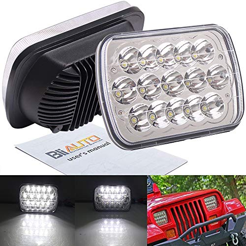 BLIAUTO 7x6 5x7 Led Headlights 2PCS H6054 6054 H5054 Headlamps with Hi/Low Sealed Beam Compatible with Jeep Wrangler YJ XJ MJ Cherokee GMC Truck Ford Van Chevy S10 Blazer Express