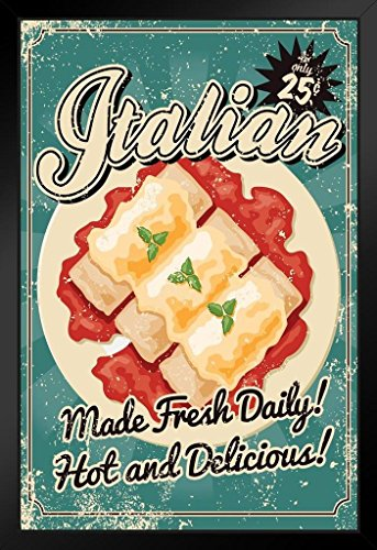 Italian Made Fresh Daily Vintage Art Print Black Wood Framed Poster 14x20
