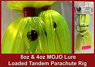 Blue Water Candy - Rock Fish Candy 8 oz & 4 oz Mojo Lure Loaded with 9-Inch Swimbait Shad Bodies Tandem Parachute Rigged & Ready