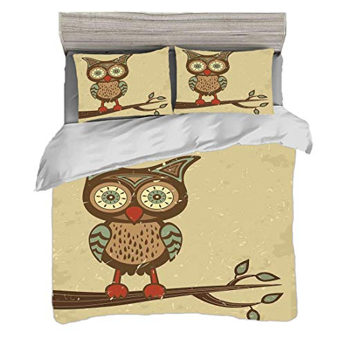 Duvet Cover Set King Size(230 x 220cm) with 2 Pillowcase Owls Digital Print Bedding Cute Owl Sitting on Branch Eyesight Animal Humor Pastel Retro Modern Graphic,Brown Cream Red Teal Easy Care Anti-All