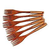 Forchetta per insalata in legno Eco-friendly riutilizzabili forchette in legno naturale Utensili da tavola posate da tavola W/Tied Line per il campeggio da viaggio 6 pz/set