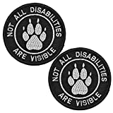 Not All Disabilities are Visible Vests/Harnesses Tactical Military Morale Badge Emblem Embroidered Fastener Hook & Loop Patches Appliques 3 Inch Sized Bubble of 2PCS