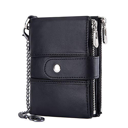 Men's RFID Blocking Genuine Leather Bifold Wallet with Anti Theft Chain