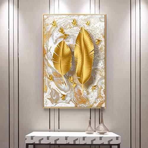 Lienzo para pared, diseño nórdico de hojas doradas, impresión de lujo para pared, pósteres, para sala de estar, decoración del hogar, 60 x 90 cm, sin marco