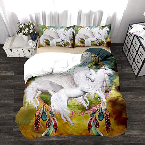 LWtiao-x Children's Bedding 135x200cm 3D digital Printing Cartoon Unicorn White, Lion, Teenager, Double, Zippered Brushed Duvet Cover + Pillowcase (a4,140x210cm+75x50cmx1)