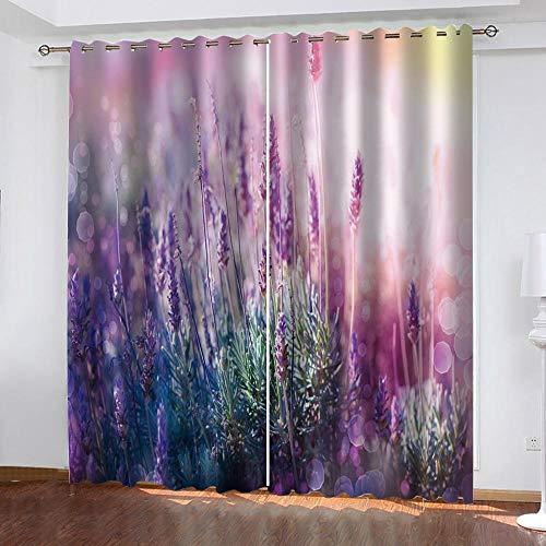 Verdunklungsgardine Lilane Blumen 3D Ösen Vorhänge Blickdicht Wärmeisolierung verdunkelnd schalldämmend Blickdicht Gesund Wohnen Vorhang für Schlafzimme - B117xL183cm x2 Paneele