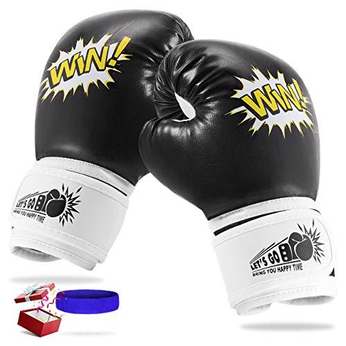 LetsGO toyz Boxhandschuhe Kinder, Spielzeug für Jungen Mädchen 4-12 Jahre Kinderspielzeug ab 3-12 Jahre Geburtstagsgeschenk für Jungen Mädchen 4-12 Jahre Box Handschuhe Boxsack Kinder - Schwarz