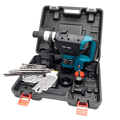 1-1/2' SDS Electric Hammer Drill Set 1100W 110V Blue,Packaged in a portable case for ease of storage and travel