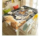Yqgdss Animal Tigre Mantel 3D Impermeable Y A Prueba De Polvo Cubierta De Mesa De Poliéster Lavable Protector De Mesa para Cenas De Cocina En Interiores Y Exteriores 120x120cm