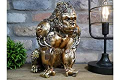 H: 28cm W: 19cm D: 23cm Weight: 1.5kgs Made from resin Gold finish Freestanding