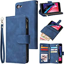 CHICASE Wallet Case for iPhone 6,iPhone 6s Case,Leather Handbag Zipper Pocket Card Holder Slots Wrist Strap Flip Protective Phone Cover for Apple iPhone 6/6S(Blue)