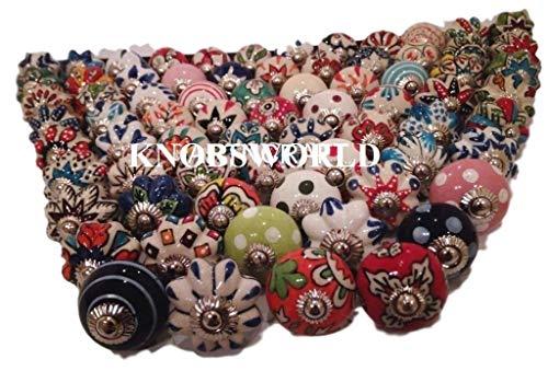 Confezione da 20pomelli, in stile vintage, motivo floreale assortito, in ceramica, per maniglie porte, armadi, cassetti e credenze