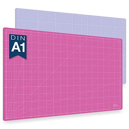 Alfombrilla de corte autorregenerable A1 en rosa, azul y verde. Perfecta para coser, manualidades y patchwork. Impresa por ambos lados 90 x 60 indicación en cm y pulgadas