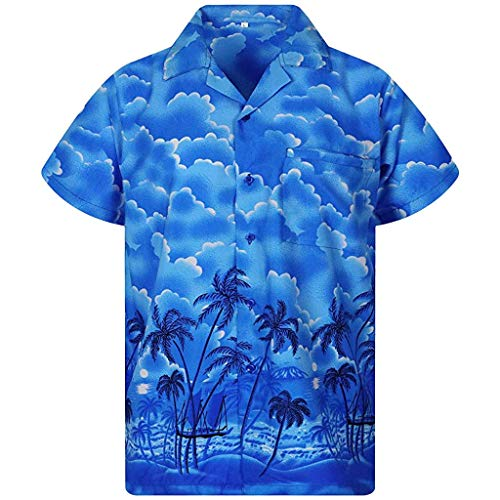 For Sale! XQXCL Men's Summer Button Hawaii Print Beach Short Sleeve Shirt Quick Dry Top Blue