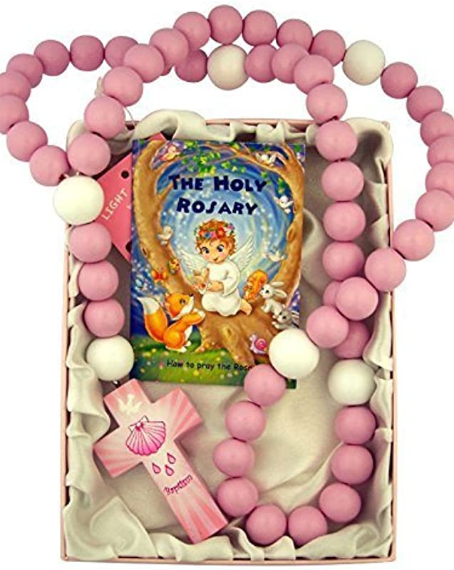 Pink Wooden Prayer Bead My First Rosary With Baptism Cross 18 Inch