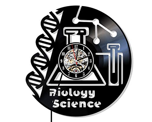 Levescale - Biology Science Vinyl Wall Clock Laboratory - Perfect Scientist Gift for Teacher, Man Or Woman - Decoration for Class Room, School, University - Phd Degree Microscope