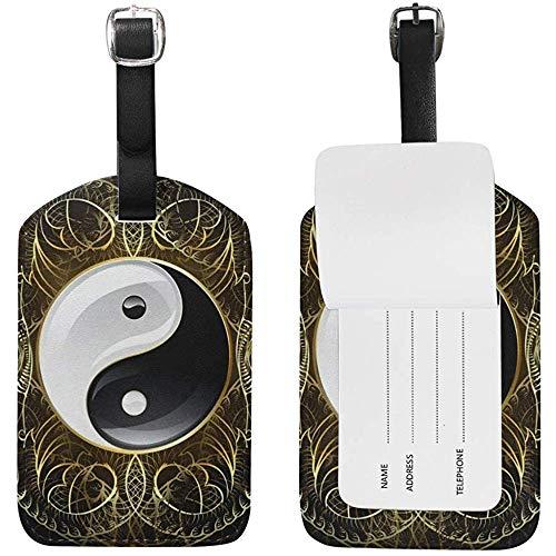 Símbolo Yin Yang Imprimir Etiquetas de Equipaje ID de Viaje Etiqueta de Bolsa para Maleta 2 Piezas