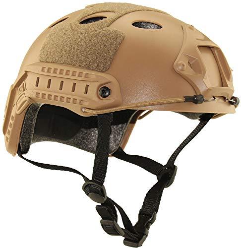 qxj Militär Tactical Helm,Airsoft Paintball Schutzhelm,Army Combat Head Protector,für Jagd Freizeit CS Game,Mud-55-59cm(21.65X23.22in)