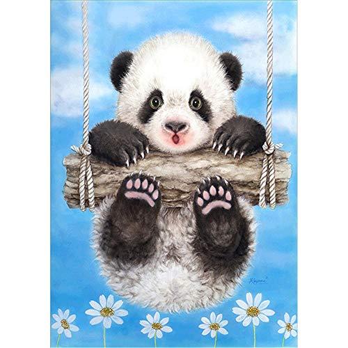 DIY Pintura Diamante 5D Kit para Adultos Columpio Panda Diamond Painting Taladro Completo Cristal Diamante Bordado Punto de Cruz Artes Para Decoración de la Pared del Hogar Gifts 40x50cm