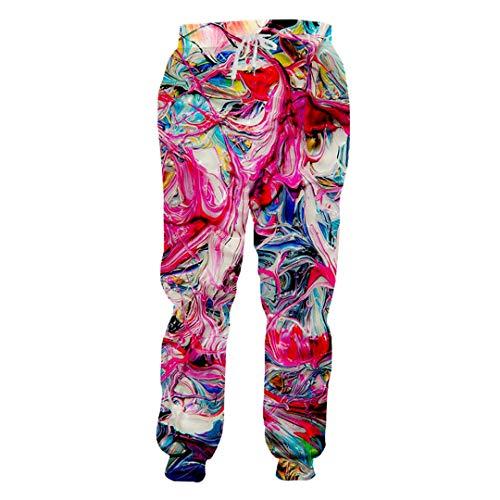 pants-personality Pantalones acogedora Floja Hombre pantalón 3D Impresos Full Vórtice Colorido de los Hombres Unisex Pantalones Colorful Vortex XXXL