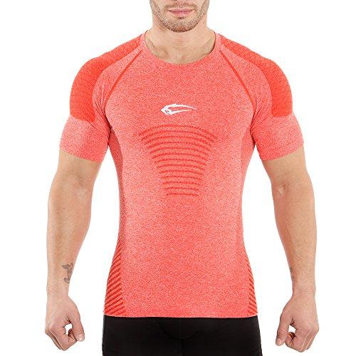 SMILODOX Slim Fit T-Shirt Herren | Seamless - Kurzarm Funktionsshirt für Sport Fitness Gym & Training | Trainingsshirt - Laufshirt - Sportshirt mit Aufdruck, Farbe:Rot, Größe:XL