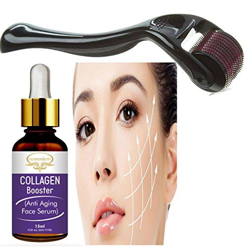 Cosmoderm Derma Roller 0.5 mm with Vitamin C Serum Collagen Boost