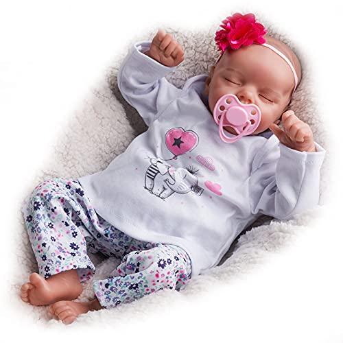 JIZHI Reborn Life Like Babies, 17 Inch Handmade Realistic Baby Dolls Soft Vinyl Body with Feeding Kit, Newborn Reborn Baby Dolls Real Looking Reborn Baby (Sleeping baby)
