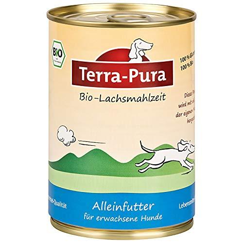 TERRA-PURA Tiernahrung Bio-Lachsmahlzeit, Nassfutter für Hunde, 400 g x 12