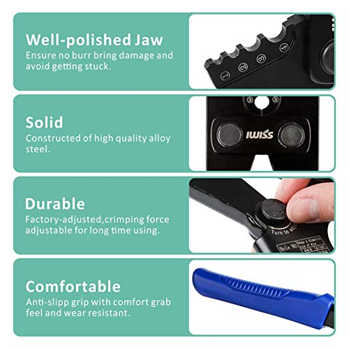 IWISS Wire Rope Crimping Tool for Aluminum Oval Sleeves,Stop Sleeves,Crimp Ferrules,Crimping Loop sleeve From 3/64-inch to 1/8-inch -15 inch Length