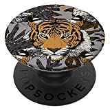 Richmond & Finch PopSocket PopGrip, Universal Expanding Mobile Phone Stand and Grip for Phones and Tablets, Includes Swappable Top, Tiger - Floral