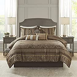 Madison Park Cozy Comforter Set-Luxurious Jaquard Traditional Damask Design Down Alternative Bedding 7 Piece