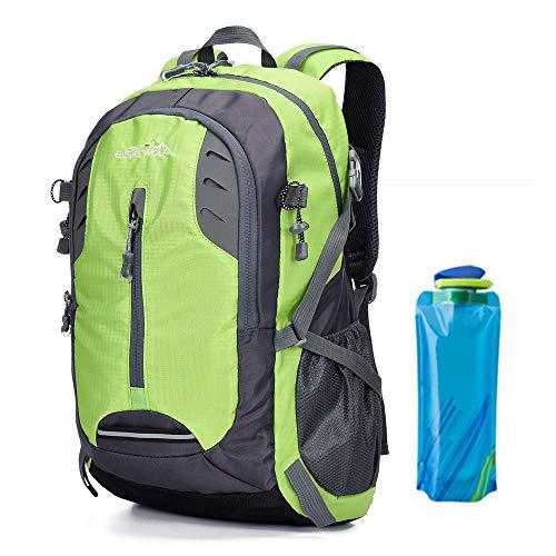 A AM SeaBlue Wanderrucksäcke Trekkingrucksack Damen Männer Rucksack Backpack Bag 30L Liter Für Erwachsene Freizeit Outdoorrucksack Wasserdichter Reiserucksack Mit Wasserflasche (2-Grün)