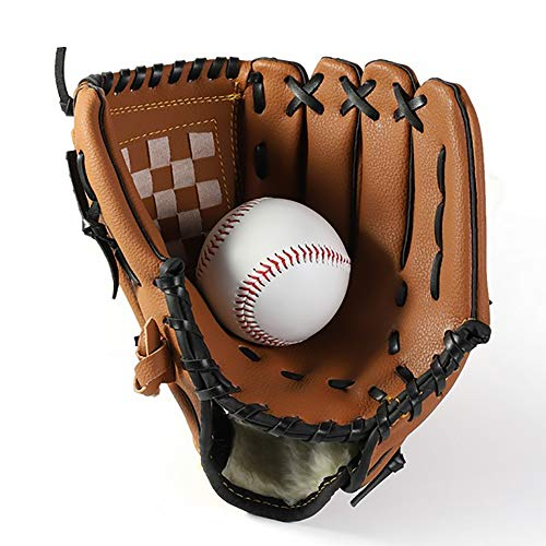 Baseball-Handschuh Softball Sport im Freien Schlagen Pitcher Handschuhe Catcher's Mitt mit Baseball PU-Leder 11,5 Zoll für Erwachsene Jugend Kinder braun