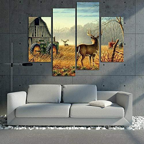 QianLei 4 panelen Wonderbare natuur bomen hekken vogels mist hert schuur boerderij schilderijen, 30x40cm (x2) 30x60cm (x2) Geen lijst