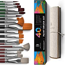 Easy Grip 40 Piece Artist Paint Brush Set with Storage Case - Includes Round and Flat Art Brushes with Hog, Pony, and Nylon Hair Bristles - Perfect for Acrylics, Watercolor, Gouache, Oil and Fabric