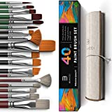 Easy Grip 40 Piece Artist Paint Brush Set with Storage Case - Includes Round and Flat Art Brushes with Hog,...