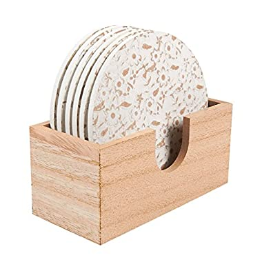 Wood Coasters - 6 Pack Round Wooden Coasters with Holder, White Floral Design, 3.8 Inches Diameter