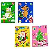 TOYANDONA 4Pcs Tarjetas de Bricolaje Navideñas Kits de Fabricación para Niños Manualidades Creativas Kits de Tarjetas de Felicitación Dibujos Animados Santa Reno Muñeco de Nieve Árbol