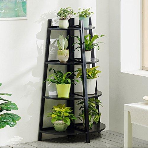 Étagères d'angle Rack de fleur de bois solide, étage salle de séjour multi-couche intérieure charnue pot de fleur, balcon fleur verte étagère ( Couleur : Noir , taille : 3 floors )