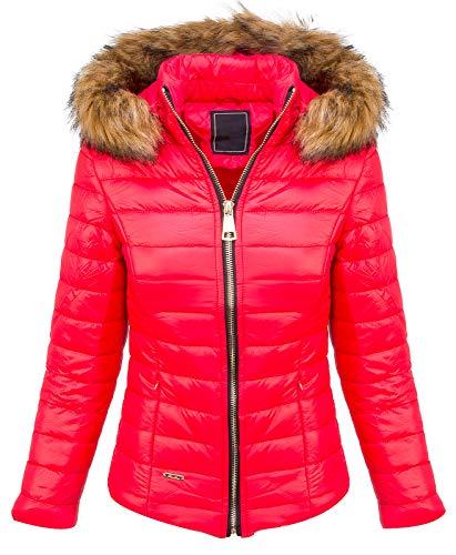 Designer Damen Stepp Jacke Winter Jacke Gesteppt Parka Mantel Kapuze Kunstfellkragen Warm Kurzjacke Kurzmantel D-409 Rot M