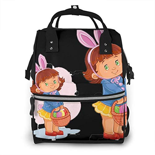 UUwant Sac à Dos à Couches pour Maman Large Capacity Diaper Backpack Travel Manager Baby Care Replacement Bag Nappy Bags Mummy Backpack,(Little Girl with Bunny Ears and A Basket