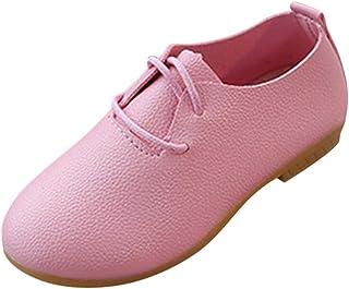 Fille Chaussures en Cuir de Couleur Unie Mocassins Plates Loafers pour Fête Fille Enfants Baptême Communion Célébration Ma...