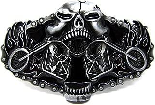 Belt Buckle Motorcycles Rider Skull Vintage Motorhead Skull Head Machine Motorcycle Biker Lot Leather