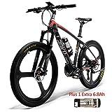 LANKELEISI S600 26 '' Bici elettrica Telaio in Fibra di Carbonio Mountain Bike 240W, Sistema sensore di Coppia, Forcella Ammortizzata con Blocco Olio e Gas (Nero Rosso Plus 1 Extra 6.8Ah)