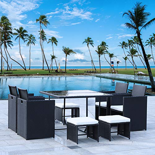 Rattan Garden Furniture Dining Table Set,9PCS Patio Rattan Cube Set Sectional Sofa Manual Weaving Wicker Includes 4 Chairs 4 Chair Cushions 4 Footrests 4 Footrest Cushions & 1 Dining Table