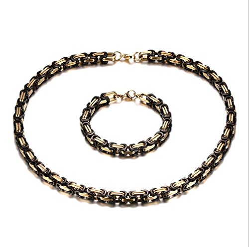 L&H Männer Titan Stahl Halskette Set Ring + Grobe Armband 8MM Schmuck Geschenk